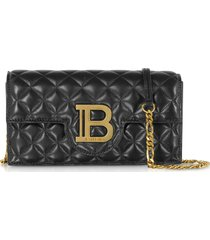 balmain designer handbags, quilted leather b-smartphone case w/chain strap