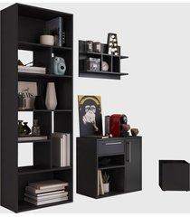 conjunto para escritório 01 livreiro/balcão multiuso/prateleira/cachepôt preto modern office e estilare móveis