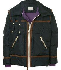 a(lefrude)e contrast trim padded jacket - black