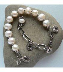 -białe perły hodowlane -bransoletka-