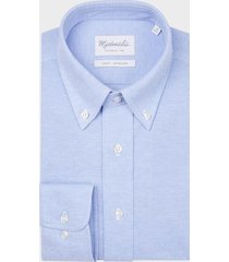 michaelis licht knitted button down shirt blauw