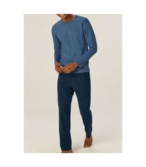pijama malwee masculino manga longa azul