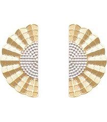 brinco prata mil leque ondulado estampado reticulado com ródio 25mm ouro