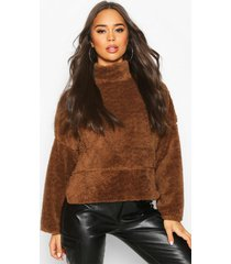 funnel neck top with side vents in teddy fleece, camel