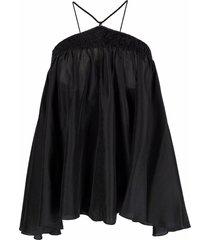 forte forte shirred silk halterneck top - black