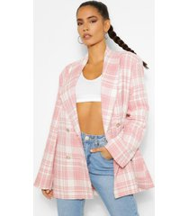 flannel boucle double breasted boxy blazer, blush