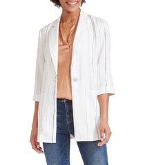 women's nic+zoe line up stripe blazer, size x-small - white