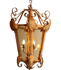 lustre pendente decorativo de metal envelhecido potsdam com 4 lâmpadas