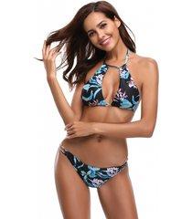 black random floral print halter tie-up design bikini