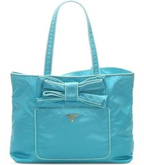 prada pre-owned bow detail tote bag - blue