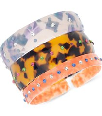 steve madden 3-pc. set pave multicolor bangle bracelets