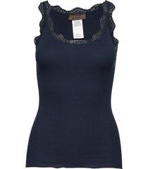 organic top w/ lace t-shirts & tops sleeveless blå rosemunde