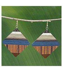 wood dangle earrings, 'woodland diamonds' (brazil)