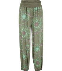 pantaloni alla turca fantasia con cinta in jersey e tasche (verde) - bpc bonprix collection