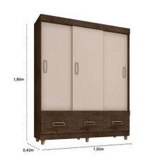 guarda roupa 3 portas e 3 gavetas imbuia/baunilha araplac móveis marrom
