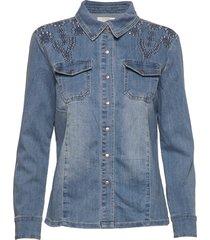 yillacr shirt overhemd met lange mouwen blauw cream