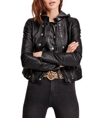 women's free people new dawn hooded faux leather jacket