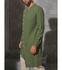 botón musulmán árabe informal para hombre diseño dobladillo asimétrico midi camisa