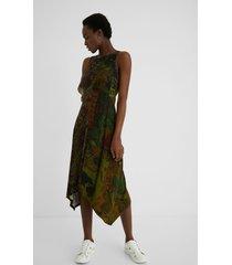 long flared asymmetric dress - green - xxl