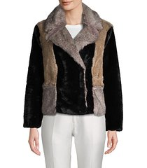 long-sleeve faux fur jacket