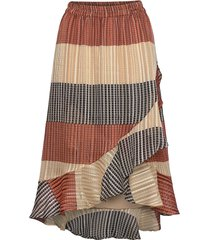 board mw wrap skirt knälång kjol multi/mönstrad second female