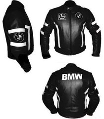 men bmw black one color motorcycle leather jacket white contrast protection pads