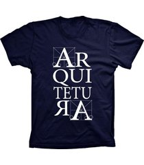 camiseta lu geek manga curta arquitetura azul marinho