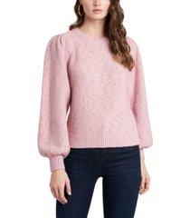 1.state fuzzy metallic puff-shoulder sweater
