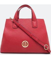 bolsa satchel grande com detalhe em metal