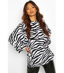 oversized slouch fleece top, blackwhite