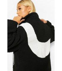 asymmetrische colour block teddy jas met rits, zwart