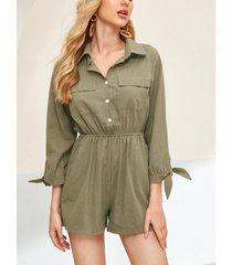 ejército verde frente botón ancho pierna manga larga cordón cintura mono corto