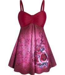 plus size floral tribal print empire waist tankini swimwear