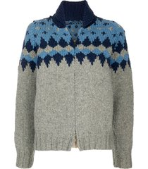 fake alpha vintage 1960s intarsia knit zip-up cardigan - blue
