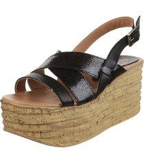 sandalia de cuero negra fionna piton
