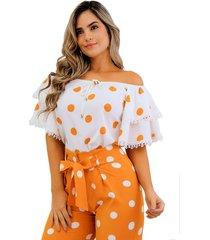 blusa off shoulders con mangas campana y detalle de encaje mostaza unipunto 32362