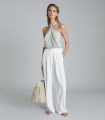 reiss brianna - striped halterneck top in white/ green, womens, size 14