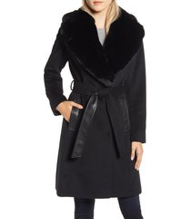 women's via spiga faux leather & wool blend coat with faux fur collar, size 6 - black