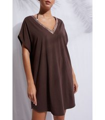 calzedonia kaftan with paillettes cannes woman brown size tu