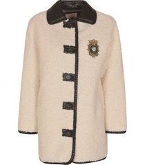 ermanno scervino crown logo fur jacket