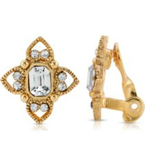 2028 gold tone clear crystal rectangle crystal floral clip earring