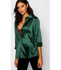 satin oversized shirt, bottle green