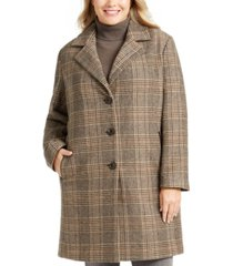 dkny plus size plaid faux-leather trim walker coat, created for macy's