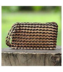 soda pop-top wristlet bag, 'bronze hope and change' (brazil)