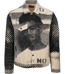 424 graphic print denim jacket