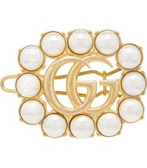 gucci gg faux pearl-embellished hair clip - gold