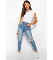 high waisted jeans met rechte pijpen en split, middenblauw