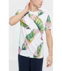 selected homme slhavalon aop ss o-neck tee b t-shirts & linnen vit