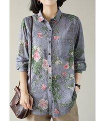 camicetta da donna con risvolto a maniche lunghe con stampa floreale e bottone tascabile