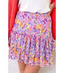 limited bloemen laagjes rok multicolor